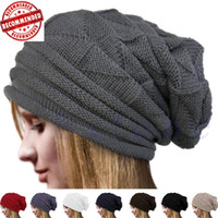 Wholesale winter white hats for women resale online - Cable Knit Beanie Thick Soft Warm Chunky Beanie Hats for Women Men Serious Beanies for Serious Style acc080
