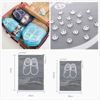 Wholesale portable boots resale online - Portable Non woven Drawstring Shoes Storage Bags Transparent Boots Dust proof Storage Bags Multifunction Clothes Underwear Organizer Package