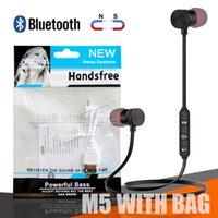 наушники mp3 сумка оптовых-Для Iphone X 8 Samsung магнитные наушники M5 Bluetooth Спортивные наушники Беспроводная стереогарнитура для бега с микрофоном MP3 Наушники BT 4.1 OPP