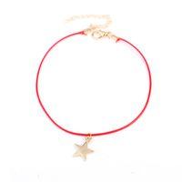 красный ножной браслет оптовых-Голеностопного Красной Веревка Подвеска ножной звезда 2019 Summer Beach Foot ножные Ювелирная Мода Стиль для женщин