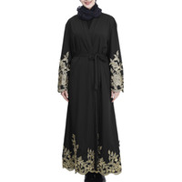vestidos de verão turcos venda por atacado-CHAMSGEND Muçulmano dress dress verão mulheres vestidos longos Abaya Cardigan Robe Turco Hijab Islâmico Gota transporte CSV G0412 # 10
