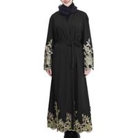 vestidos turcos de verano al por mayor-CHAMSGEND Vestido musulmán vestido verano mujer vestidos largos Abaya Cardigan Robe Hijab Islámico Drop Drop CSV G0412 # 10