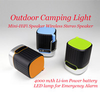 Outdoor Camping Light & Mini-HiFi Speaker Wireless Stereo Speaker with HD Audio LED Flashlight with 2 Modes SD TF Card Slot Best for Camp