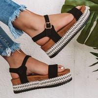 stroh sommer keil schuhe großhandel-Beach Flat Frauen Sandalen Plus Size-Plattform zwängt Schuhe für High Frauen Heels Sandalen Sommer 2019 Flip Flops Straw starke untere MX190727