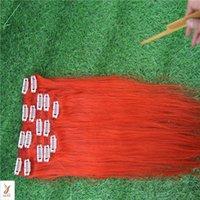 kırmızı düz insan saç uzantıları toptan satış-7 Adet Kırmızı Renk Bakire Saç Düz% 100% İnsan Saç Dokuma 10-30 Inç Saç Uzantıları Üzerinde Klip 6a