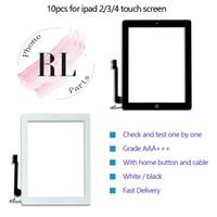 ipad2 digitalisierer großhandel-10pcs / lot touchscreen digitizer für ipad 2 3 4 touch glasscheibe ersatz mit hauptknopf flex aufkleber