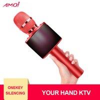 rosa drahtloser bluetooth lautsprecher großhandel-Tragbare bunte Lichter Mikrofon drahtlose Bluetooth-Handmikrofon Karaoke DJ Home Mini Rosa Rot-Lautsprecher TF-Karten-K33