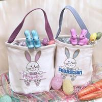 cesta de coelho venda por atacado-Rápido monograma Basket envio de Páscoa Canvas baldes de Páscoa Presente personalizado do coelho bolsas coelho da cauda bolsas de lona 8 estilos Mix