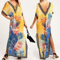 encubrimientos para trajes de baño al por mayor-Beach Cover up Kaftans Sarong Traje de baño Cover ups Beach Pareos Swimsuit up Womens Swim Wear Tunic # Z294