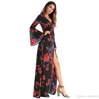 fourches en mousseline achat en gros de-Robe sexy nouvelle robe en mousseline de soie manches de loisirs irrégulière robe d'impression défilé
