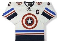 kaptan amerika hokeyi toptan satış-Kaptan Amerika Atlanta Gwinnett Gladyatörler Hokey Forması Nakış Dikişli Herhangi bir numara ve ad Forma Özelleştirmek Formalar