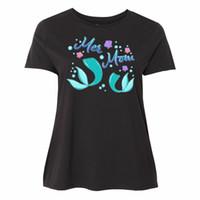 ana kız modası toptan satış-Inktastic Mer Anne-Denizkızı Anne Ve Kızı kadın Artı Boyutu T-Shirt Deniz Yeni Erkek Kadın Unisex Moda tişört Ücretsiz Nakliye siyah