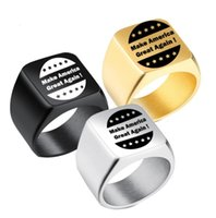 Wholesale golden man rings resale online - Trump Election Rings Donald Trump Stainless Steel Ring Men Women Titanium Make America Great Again Ring Fashion Jewelry GGA2610