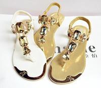 sandálias de strass venda por atacado-Verão mulheres sandálias de strass pulseiras traseiras com toe espinha de peixe baixo para ajudar sapatos baixos flathead metalhead 938-1 sapatos