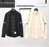 uzun kollu polo yaz toptan satış-19ss Crewneck TB erkekler tasarımcı gömlek polo Tişörtleri Pamuk Baskı uzun Kollu Yaz Tee Nefes Yelek Gömlek Streetwear Açık