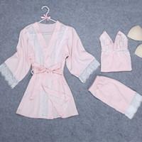 чёрный кружевной пижамный комплект оптовых-Blue/Black/Pink Lace-Up Three Piece Sleepwear Women Spring V-Neck Patchwork Lace Pajama Sets