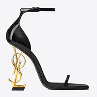 zapatos solos sandalias tacones altos al por mayor-Nuevos zapatos Marca Mujer con los zapatos Caja de verano de la hebilla de correa del remache sandalias de tacón alto en punta lujo de la manera de tacón alto Individual