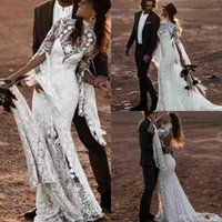 Wholesale bell gowns for sale - Group buy 2020 Bohemian Beach Wedding Dresses High Neck Bell Long Sleeve Lace Open Backless Boho Bridal Gowns Wedding Dress
