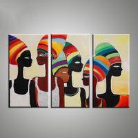 pinturas de arte africana mulheres venda por atacado-Mintura Arte Pintura Decorativa Da Parede Africano Mulher Pinturas Modernas Abstrata Pintura A Óleo Da Lona Imagens para Sala de estar