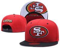 ingrosso tappi a sfera ricamati-Nuovo arrivo SF 49er cappelli di Snapback di colore rosso ricamato Logo marchio sportivo di Foot Ball Fan Hip Hop protezioni registrabili cappello di moda