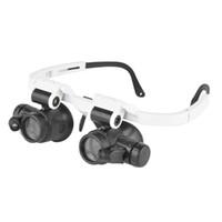 regarder les lunettes de réparation grossir achat en gros de-8X / 15X / 23X Loupe Avec Led Lampe Double Lunettes Lunettes Loupe Lentille Bijoutier Réparation Réparation Outil Loupe