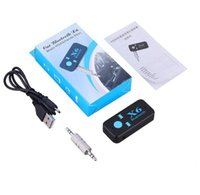 lectores de teléfonos celulares al por mayor-Conector de audio de 3.5mm X6 Adaptador Bluetooth Manos Libres Inalámbrico USB Car Kit Receptor Bluetooth AUX TF Lector de Tarjeta MIC Teléfono Celular Transmisores de FM