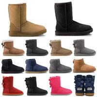 botas marrons venda por atacado-Hotsale UGG ugg boots designer de moda mulheres tornozelo inverno botas Australiana marrom alto Bailey Bowknot mulheres trabalho de neve sobre o joelho coxa alta bota de pele