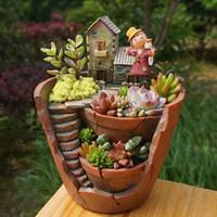 ingrosso vasi da giardino della resina-1pz Resina Decorativa Decorativa Pianta Succulente per Fata Garden Desktop Pot Casa Giardino Decorazione