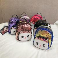 nuevo lindo animal coreano al por mayor-Niños mochila niños coreanos 2019 nuevo lindo gato lentejuelas cuero Pu mochilas pequeñas niños niñas estudiante bolsa moda diseñador de lujo bolso