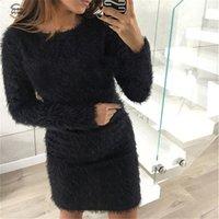 chandails de noël sexy achat en gros de-Mode Robe d'hiver en peluche Pull Party Vêtements pour femmes Noir Nuit de Noël Bandage Mini Sexy Robe Pour Femme
