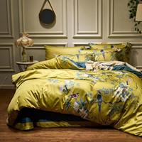 juegos de cama florales tamaño queen al por mayor-4pcs sedoso algodón egipcio amarillo Chinoiserie estilo Aves Flores funda nórdica Hoja de cama Equipada sistema de la hoja extragrande reina del lecho