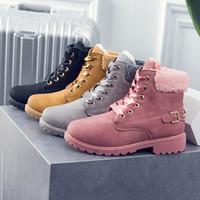 botas de estilo británico casual al por mayor-2019 Nuevas botas de mujer de color rosa con cordones Solid Botines casuales Martin Zapatos de mujer de punta redonda Invierno botas de nieve de estilo británico cálido Martin
