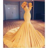 sarı balo gece elbiseleri toptan satış-Sarı Mermaid Gelinlik Modelleri Seksi V Boyun Ruffles Sweep Tren Abiye Güney Afrika Kadınlar Örgün Parti Elbise Ucuz Abiye