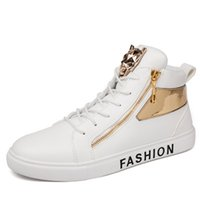 сапоги на высоком каблуке оптовых-Натуральная кожа Man Flat Heel Повседневная высокие ботильоны Скейт холст обувь спортивная обувь гетры кроссовки лоферы хип-поп высокое качество