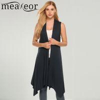 ingrosso maglione nero maglia-Meaneor Women Vest Sleeveless Cardigan Casual Draped Asymetric Hem Open Front Solid Nero Feminino Long Cardigan Sweater Coat