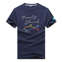 t-shirts neue stil designs großhandel-NEUE 2019 Luxus Shark Brand Design Kurzarm Herren T-Shirts P1909 Mode Italien PS lässigen Stil PSY Sommer Business Baumwolle Yacht Club T