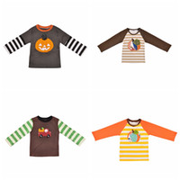 t-shirts pour bébé achat en gros de-Bébé Halloween Patchwork T-shirts Coton À Manches Longues Citrouille Rayé Imprimé Broderie Enfants Designer Vêtements Enfants Hauts TTA1736