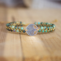 Wholesale tree wrap bracelet resale online - Handmade Natural Stone Boho Yoga Wrap Bracelet Bangle Tree of Life African Japser Braided Charm Bracelet Women Men Gift