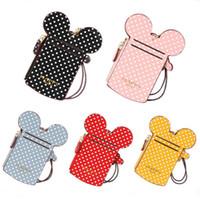 Wholesale kids ipad tablet resale online - Happy Dream Girl Kids Mini Letter Cute Card Zipper Handbags Carton Round Ears Squin Designer Bags Duffle Bag ID Card Wallets Package A52109