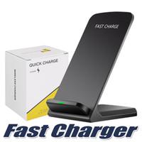 soportes de notas al por mayor-Cargador inalámbrico de 2 bobinas para iPhone X 8 8 Plus Soporte inalámbrico de carga rápida Qi Pad para Samsung Nota 8 S8 S7 Todos los teléfonos inteligentes habilitados para Qi