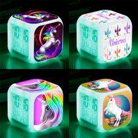 Wholesale multi alarms for sale - Group buy Unicorn Alarm Clock Plastic LED Night Lamp For Kid Girl Boy Gift Multi Colors Dazzle Fashion Cartoon Square wt D1