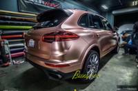 матовый золотой автомобиль оптовых-Горячие Продажи 1.52x20 м Высокий Эластичный Матовый Матовый Хром Металлический Автомобильные Обертывания Розовое Золото Клей Винил
