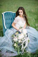 Wholesale simple soft wedding dresses resale online - 2019 High Neck A Line Soft Tulle Cap Sleeves Backless Light Blue Skirts Plus Size Bohemian Bridal Gown Fairy Beach Boho Lace Wedding Dresses