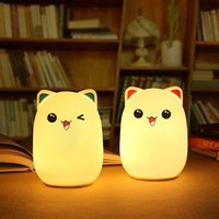 Wholesale night light bear table resale online - Bear Silicone Night Light USB charge Children Cute Night table Lamp Bedroom Light home decor decompress light toy Novelty Items FFA1604
