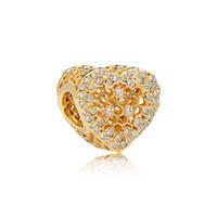 gelb vergoldeter charme großhandel-NEUE Luxus 18 Karat Gelbgold überzogene Spitze bienenstock Perlen Charms Original box für Pandora Herz 925 Sterling Silber Charms Schmuckherstellung