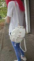 Wholesale sailor moon school bags resale online - 2019 Sailor Moon Black Women PU Leather Backpack School Bags for Teenage Girls Leather Rucksack Brand Shoulder School Backpack