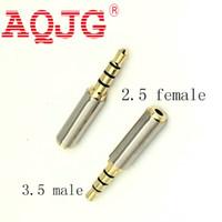 adaptadores jack venda por atacado-2,5 milímetros fêmea Jack a 3,5 mm Masculino 4 pistas estéreo adaptador de conexão AQJG