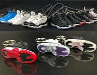 Wholesale 3d shoes keychains resale online - 2019 D Sports Shoes Keychains Cute basketball Key Chain Car keys Bag pendant Gift many color