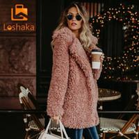 kürklü kaput bombardımanı ceketi toptan satış-Loshaka Kadınlar Kış Ceket Kaban Faux Kürk Bombacı Ceket Teddy Coat Siper Yün Pembe Palto Uzun Kollu Kapşonlu Dış Giyim