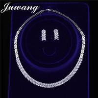conjuntos de jade jóias venda por atacado-JUWANG Bridal jóias conjuntos para Brides Cubic Zirconia de cristal Simplicidade brincos colar e Jóias ajusta o presente